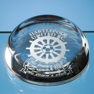 Crystal glass rounded paperweight