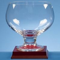 Crystal glass wood mounted bowl
