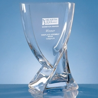 Crystal glass presentation vase