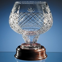 Cut glass wood mounted crystal bowl