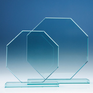 Crystal glass octagonal flat award