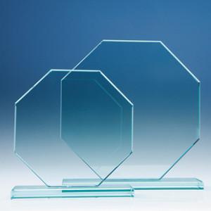Crystal glass octagonal flat award