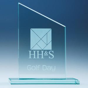 Crystal glass flat mounted slanted award