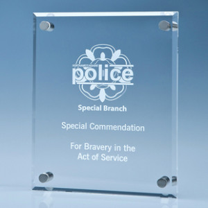 Crystal glass wall mounted plaque