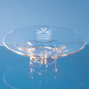 Crystal glass shallow presentation bowl
