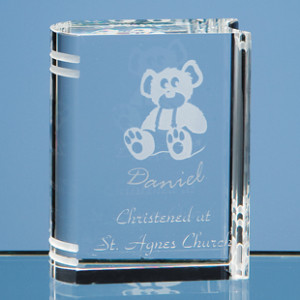 Crystal glass book Christening graduation gift