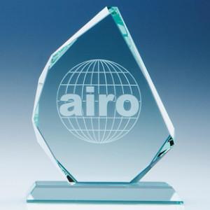 Crystal edged award trophy
