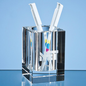Crystal glass heavy desktop penholder