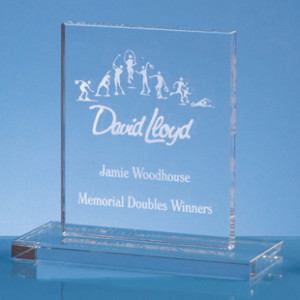 Crystal glass flat mounted plaque trophy